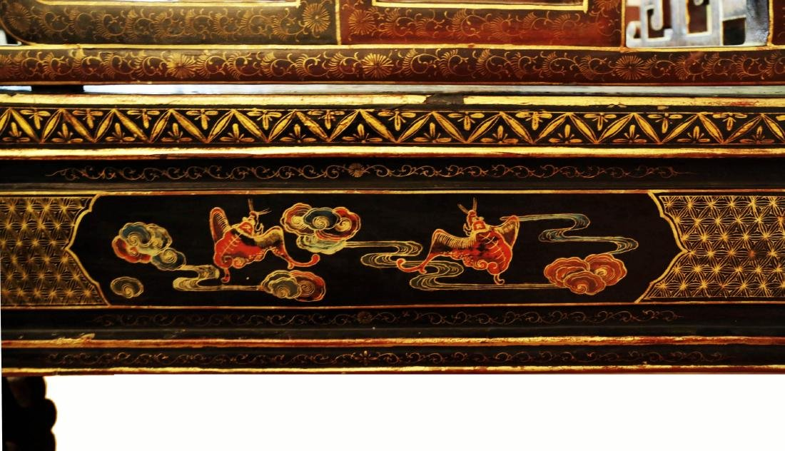 CHINESE SHAPED GILT DECORATION LACQUER THREE-RAILING - 4