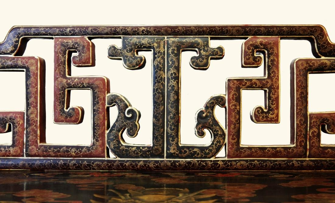CHINESE SHAPED GILT DECORATION LACQUER THREE-RAILING - 9