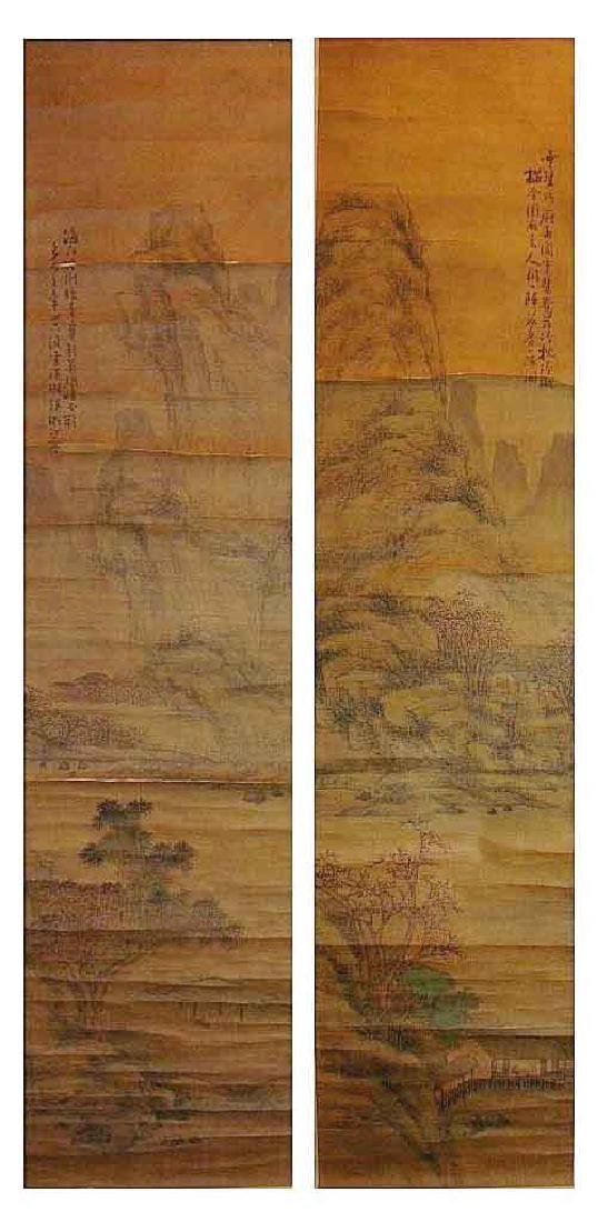 (2)   A PAIR OF ANTIQUE CHINESE HANGING SCROLL