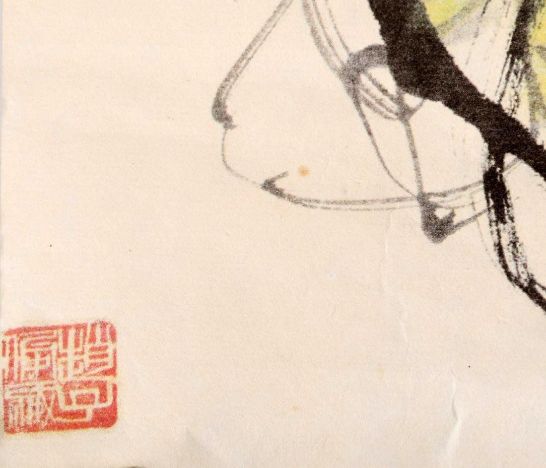 SIGNED QI BAISHI. A INK AND COLOR ON PAPER HANGING - 10