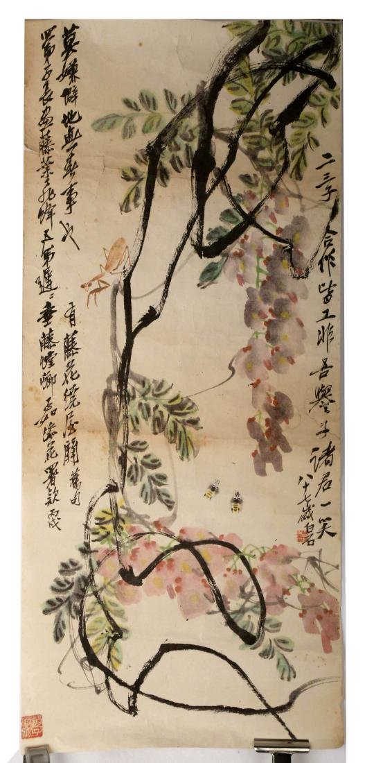 SIGNED QI BAISHI. A INK AND COLOR ON PAPER HANGING