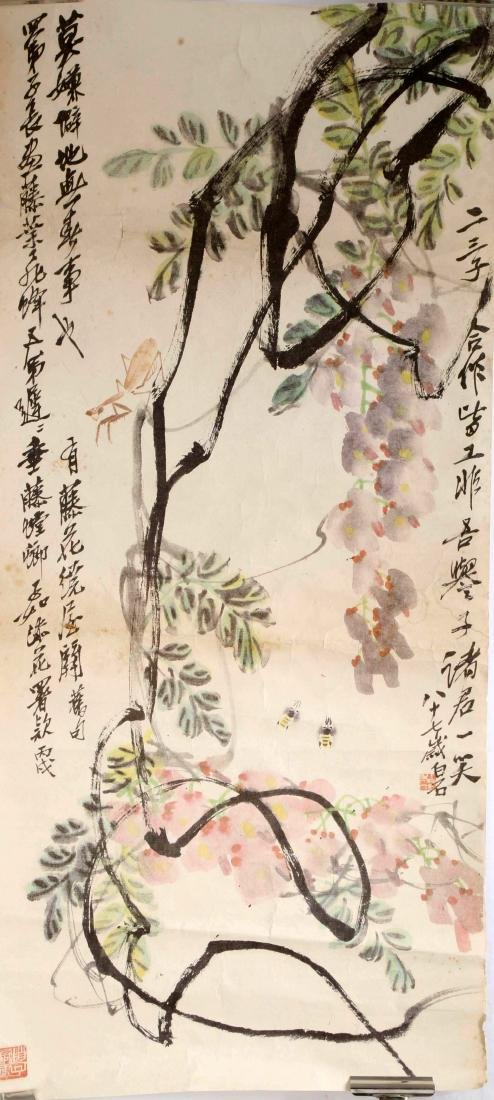 SIGNED QI BAISHI. A INK AND COLOR ON PAPER HANGING - 2