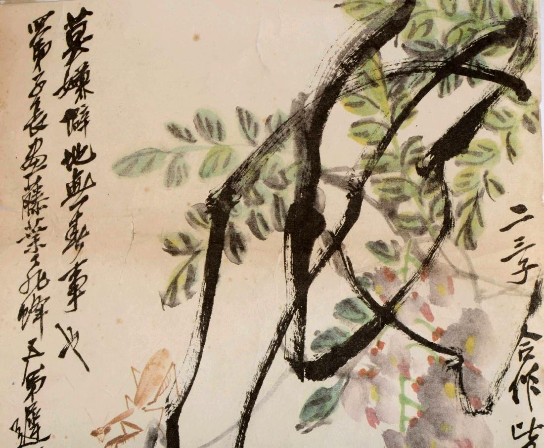 SIGNED QI BAISHI. A INK AND COLOR ON PAPER HANGING - 3
