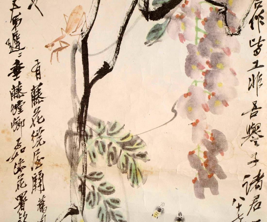 SIGNED QI BAISHI. A INK AND COLOR ON PAPER HANGING - 4