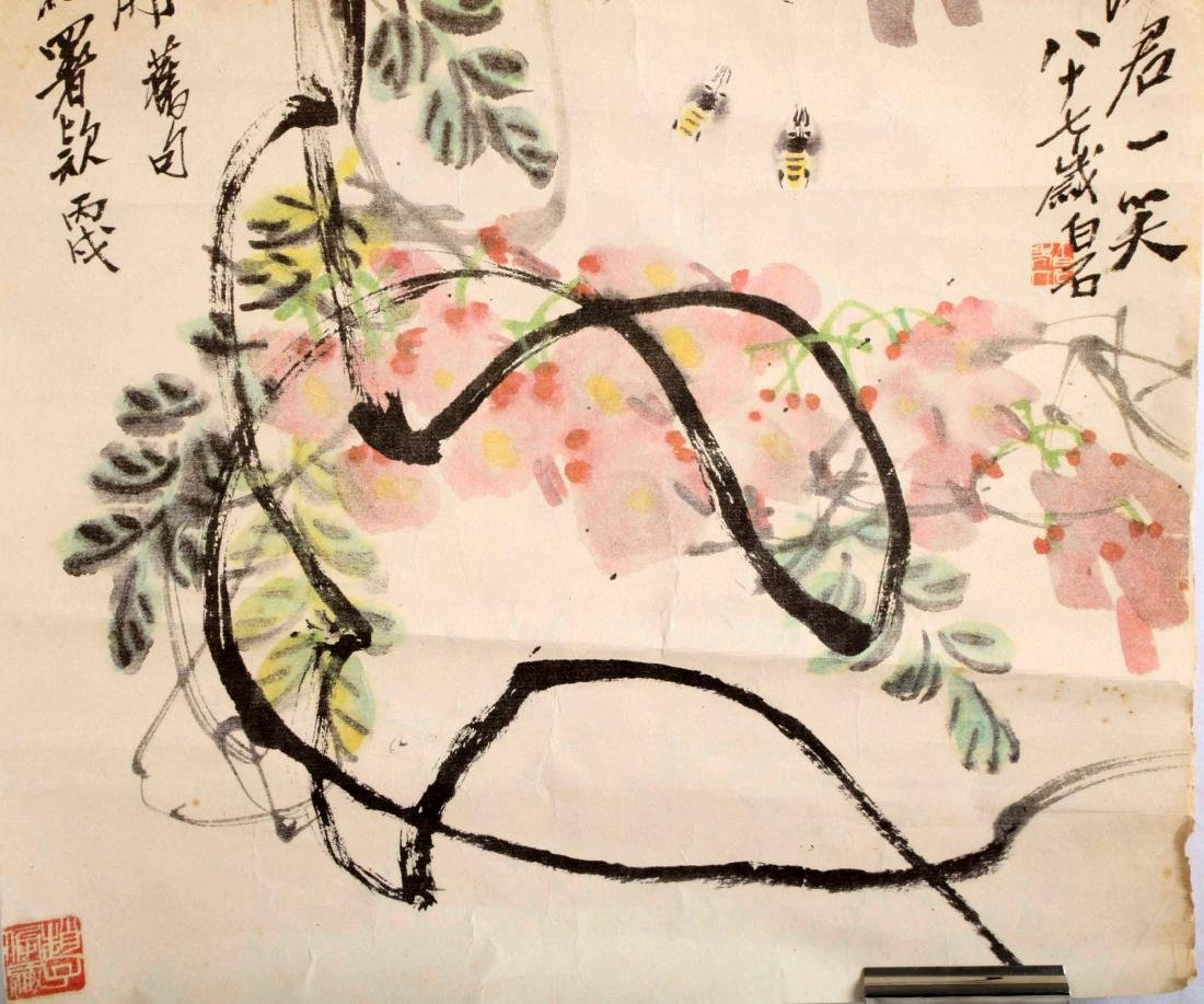 SIGNED QI BAISHI. A INK AND COLOR ON PAPER HANGING - 5