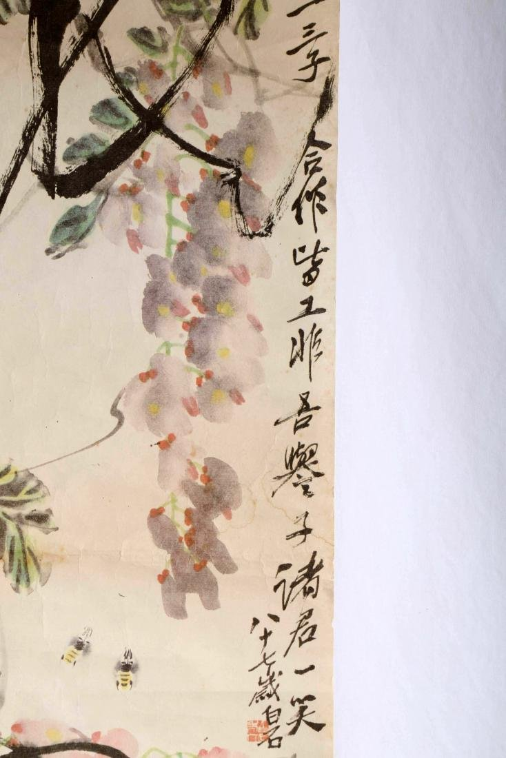 SIGNED QI BAISHI. A INK AND COLOR ON PAPER HANGING - 6