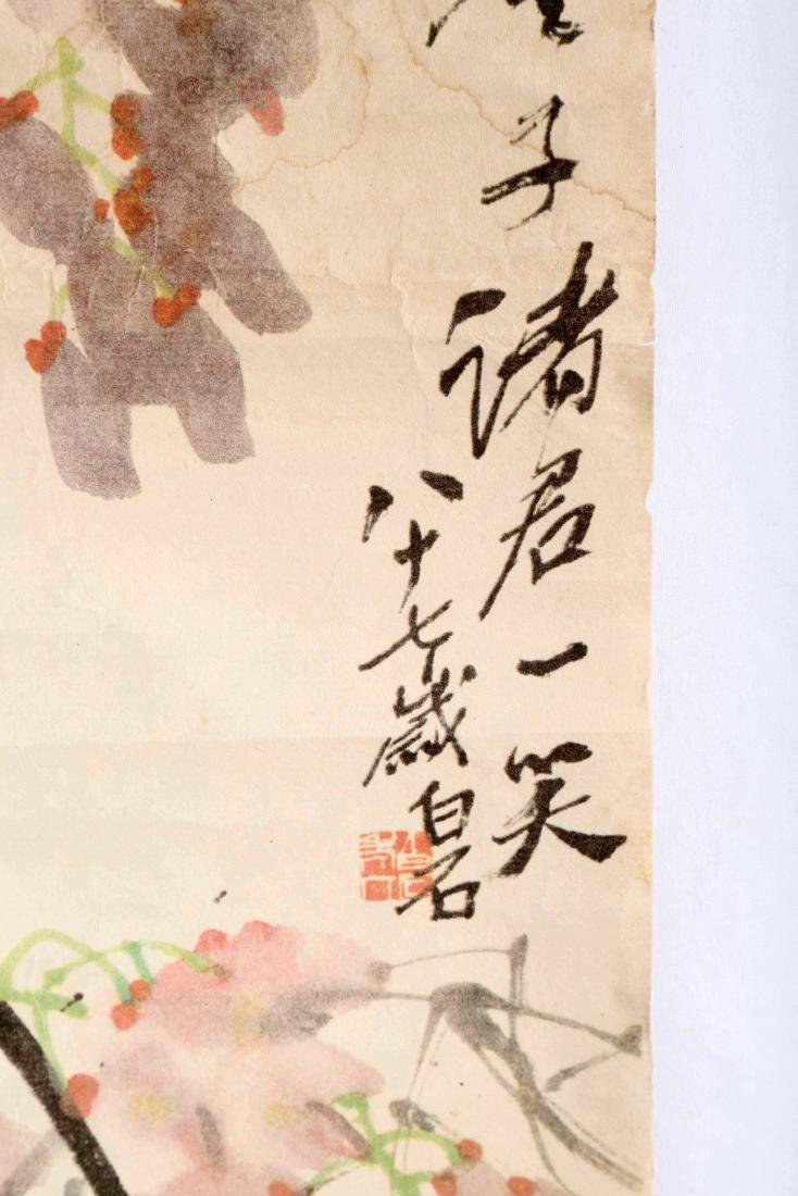 SIGNED QI BAISHI. A INK AND COLOR ON PAPER HANGING - 7