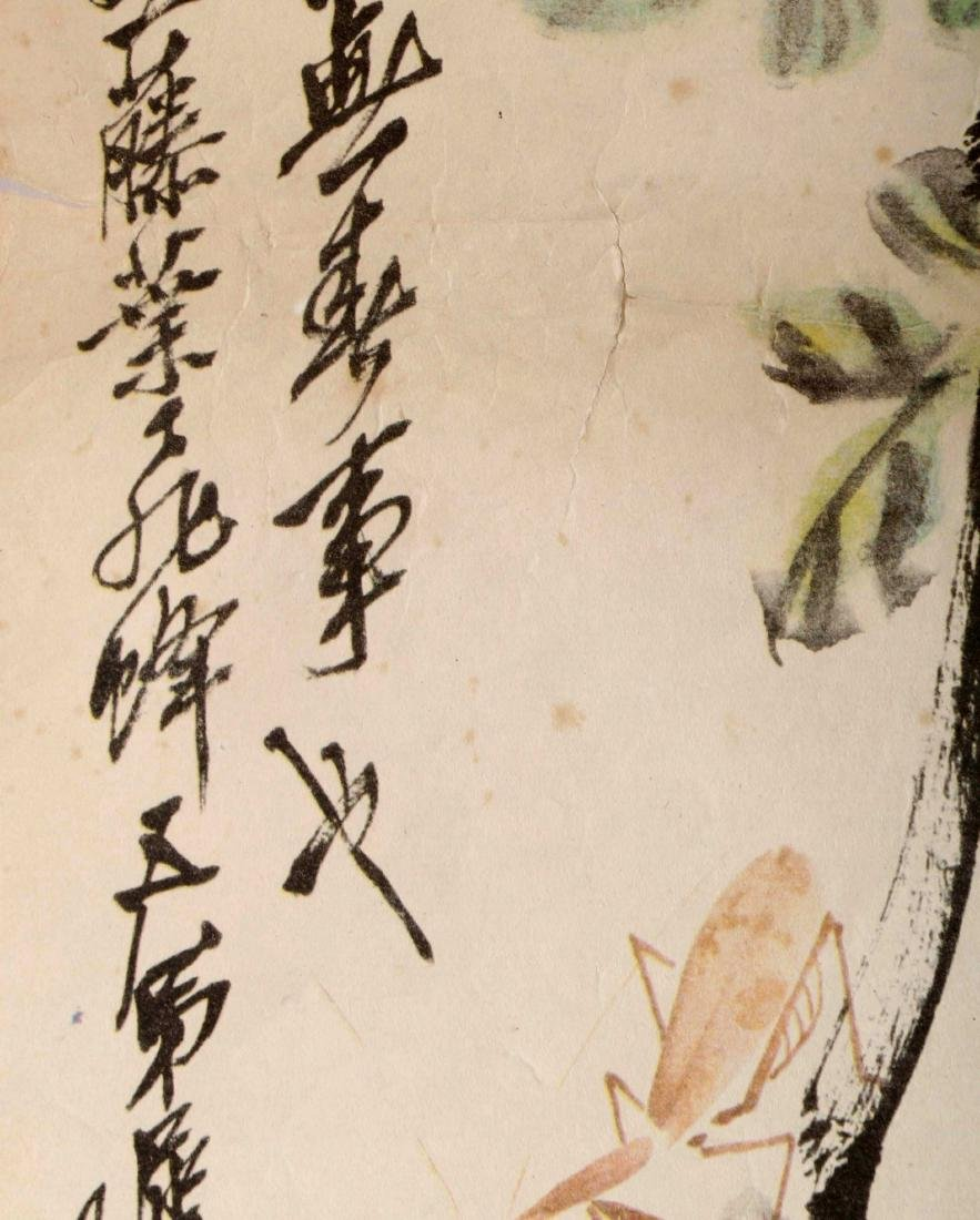 SIGNED QI BAISHI. A INK AND COLOR ON PAPER HANGING - 8