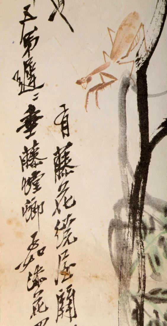 SIGNED QI BAISHI. A INK AND COLOR ON PAPER HANGING - 9