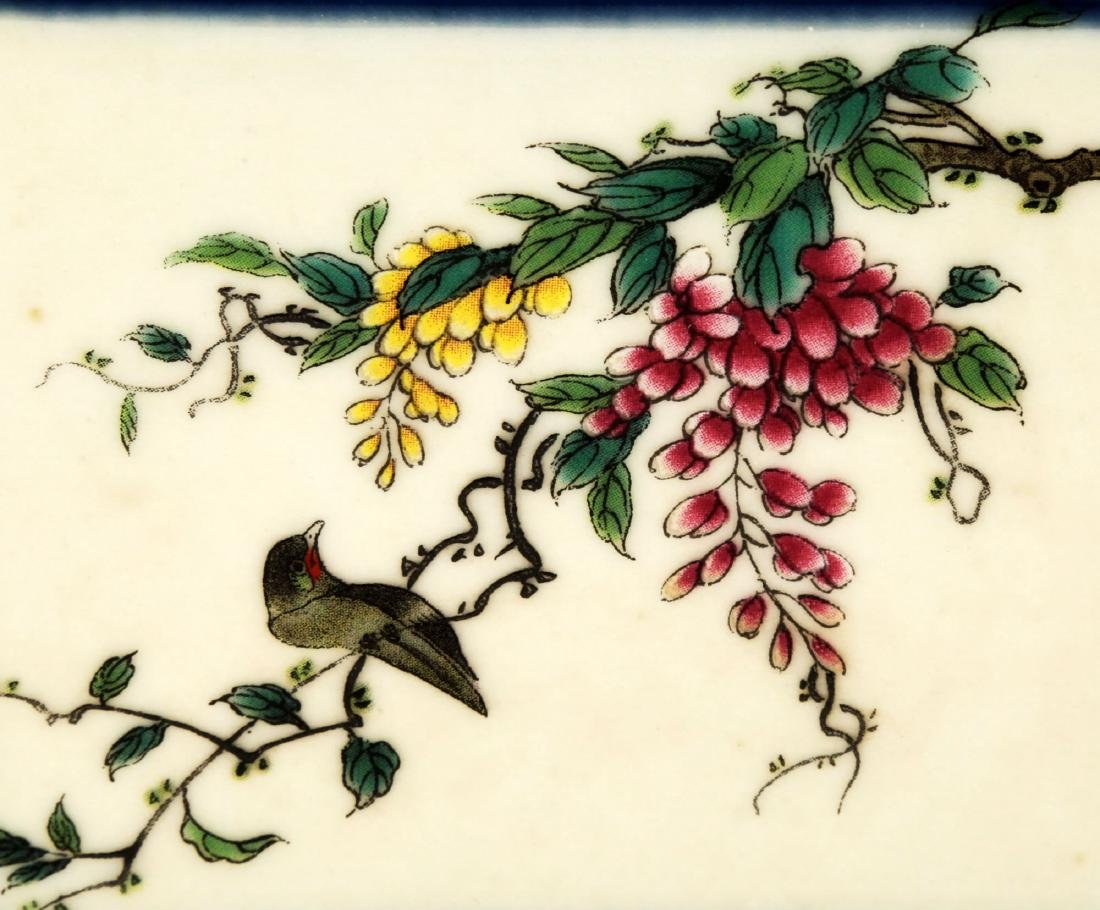 A GILT FAMILLE ROSE FLOWERS AND BIRDS HEXAGON JAR - 9
