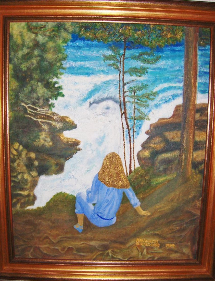 Girl by whirlwind water and blues shoes Don't look back