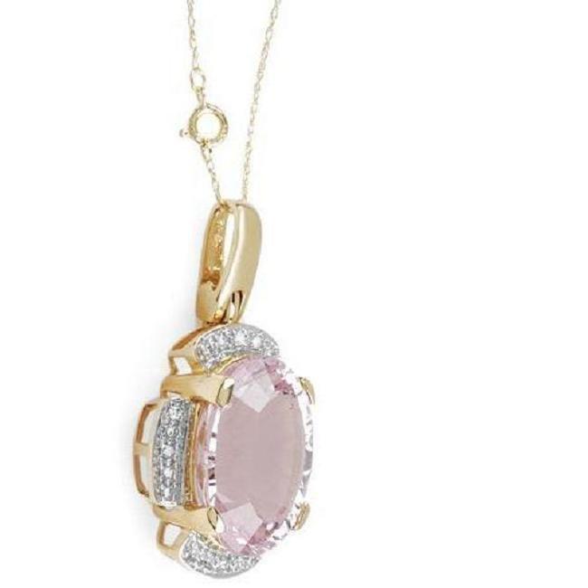 Necklace 18.10ctw  clean diamonds and Kunzite 14k