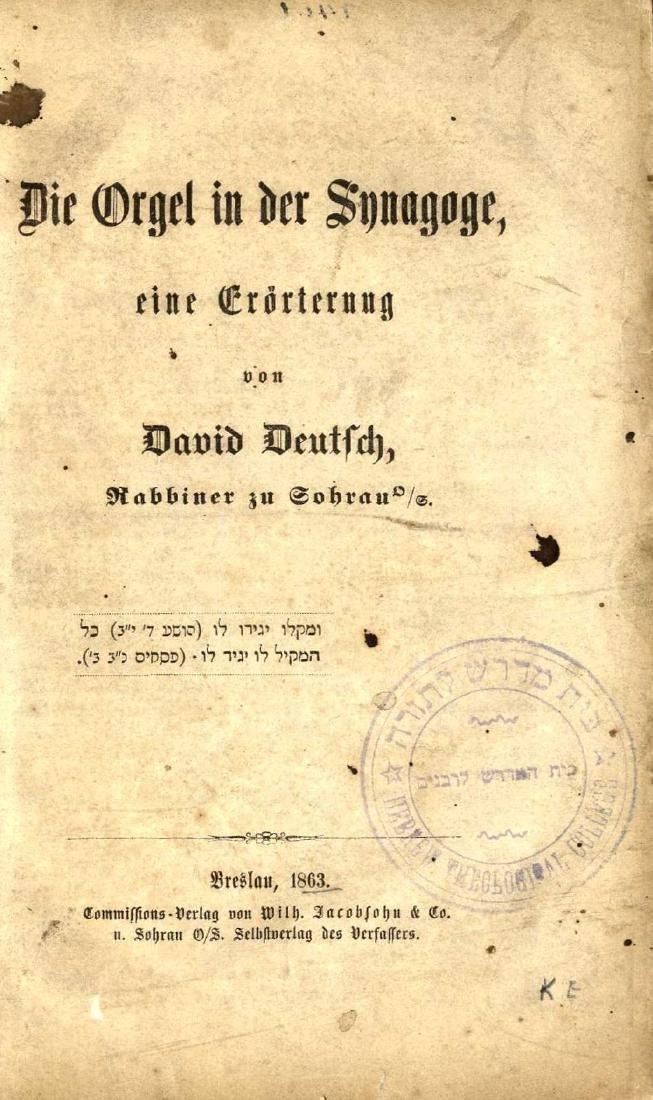 Die Orgel in der Synagoge, eine Erörterung, by David