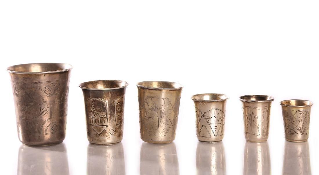 Five wine goblets, silver [hallmarked]. Russia. 19th