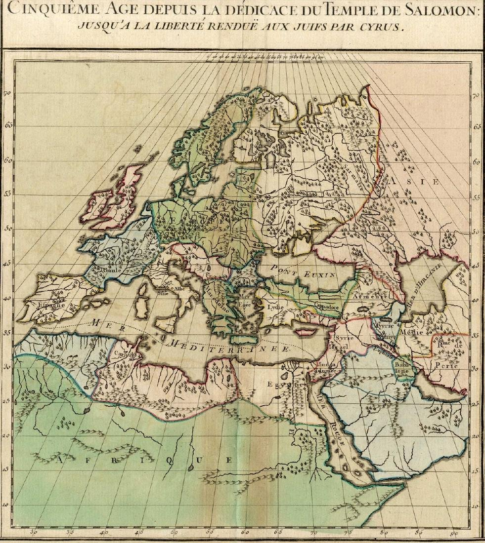 Five ancient geographic maps-Engravings. Europe, Asia
