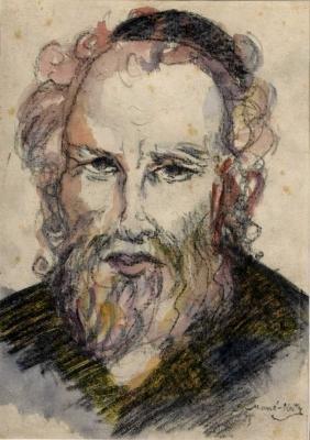 Torah Scholar. Mané-Katz [1894-1962], Signed
