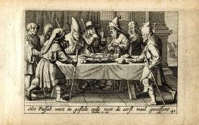 Five engravings of Biblical scenes, 18th century