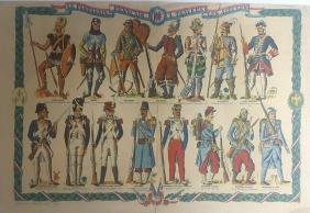French Soldiers Through the Ages. A Colored Lithograph,