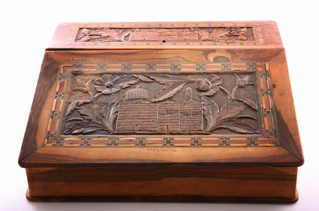 Magnificent olive wood writing case. Palestine, end of