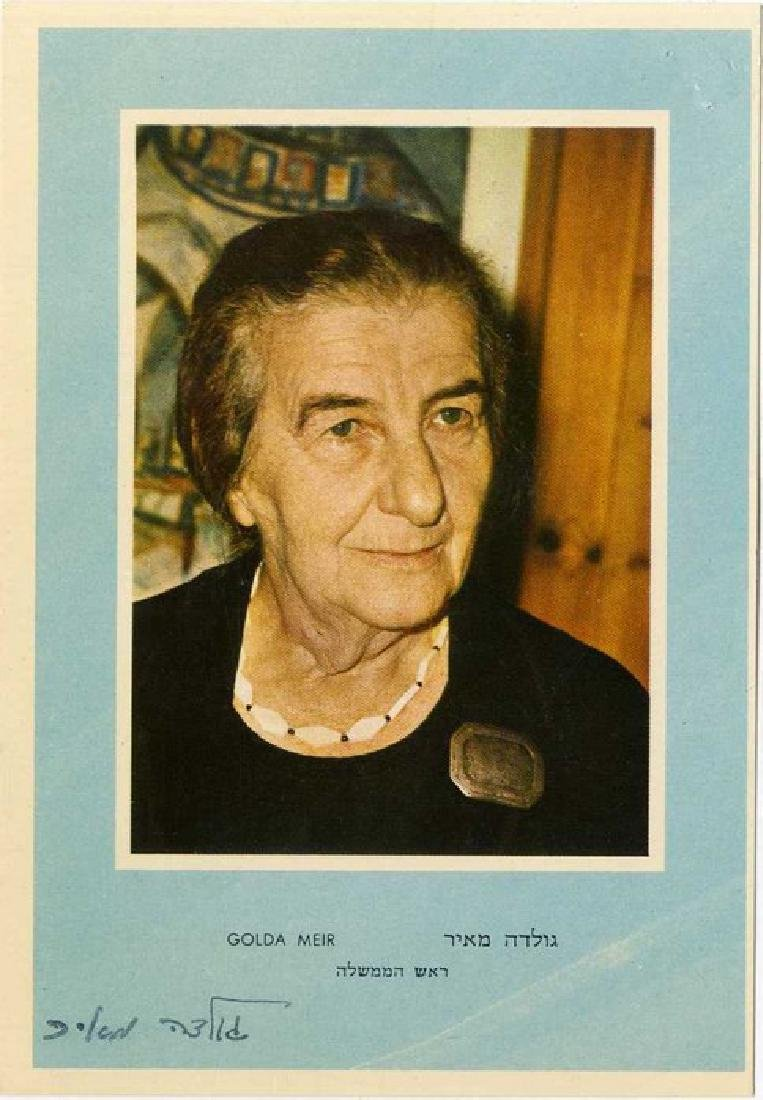 Golda Meir - Photo Postcard with her Signature.