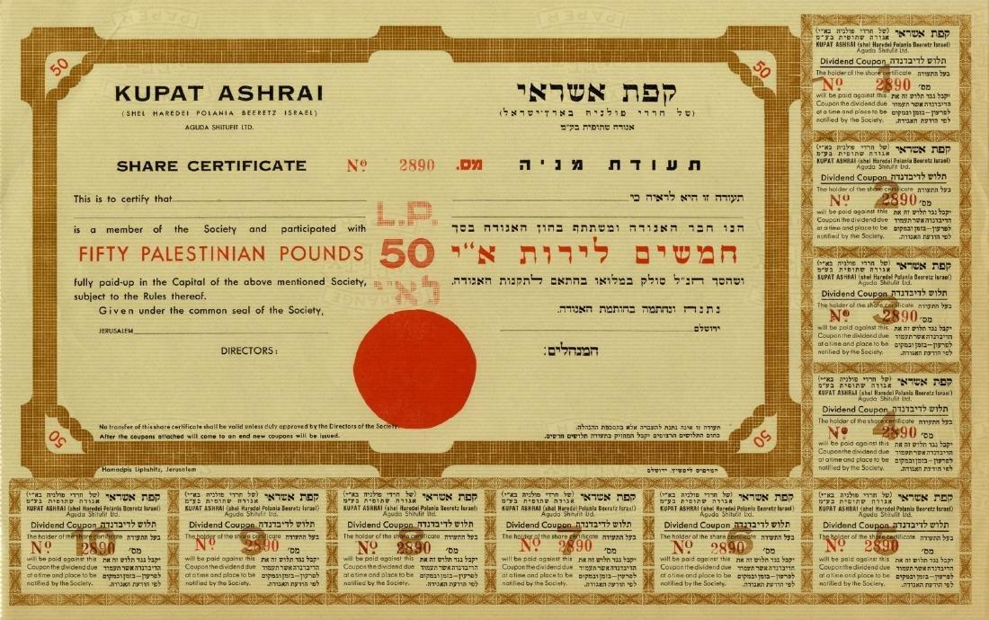 Two Shares Certificates of 'Charedi Polania B'Eretz