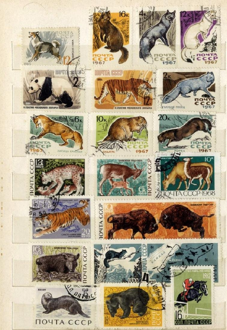 Large Collection of Stamps with Animals from Around the