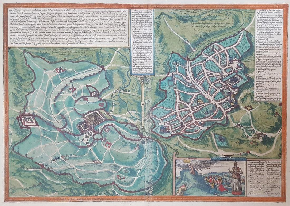 Map of Jerusalem and the Temple, Braun & Hogenberg.