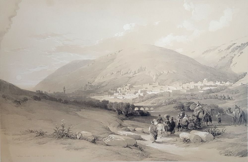Shechem - Lithography by David Roberts [London], 1839