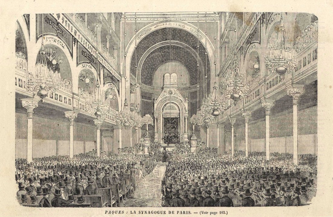 Five Etching Prints of Interiors of Various Synagogues