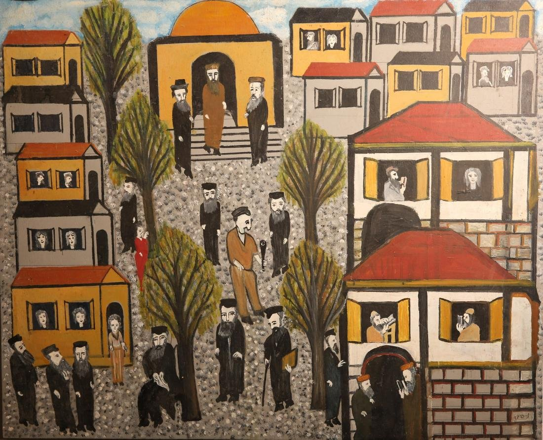 Leaving the Synagogue - Oil on Wood - Nathan Heber