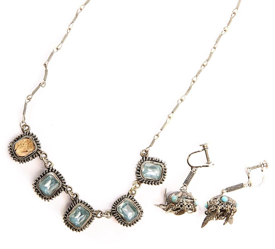 Silver Necklace with Semi-Precious Stones. Bezalel