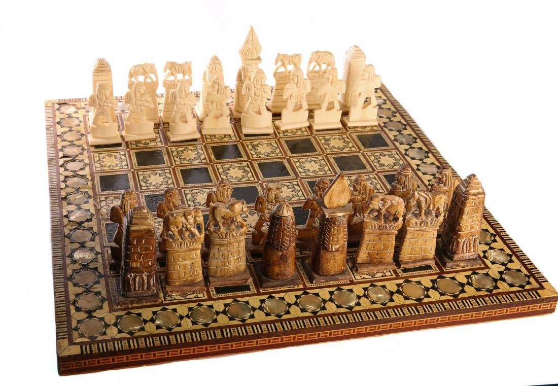 Egyptian Chess, Ivory with Mother of Pearl. Egypt,