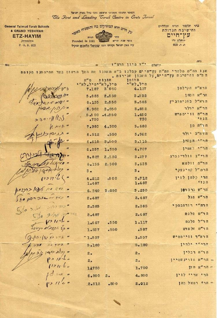 Fund Account Leaf from the Etz Chaim Talmud Torah with
