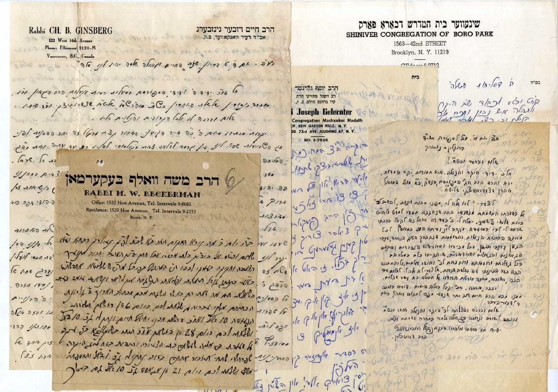 Large Collection of Rabbinical Letters - United States