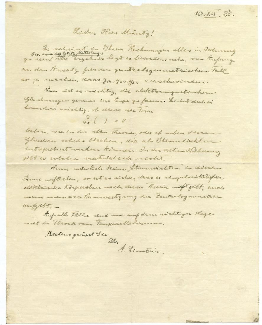Letter from Prof. Albert Einstein Regarding the
