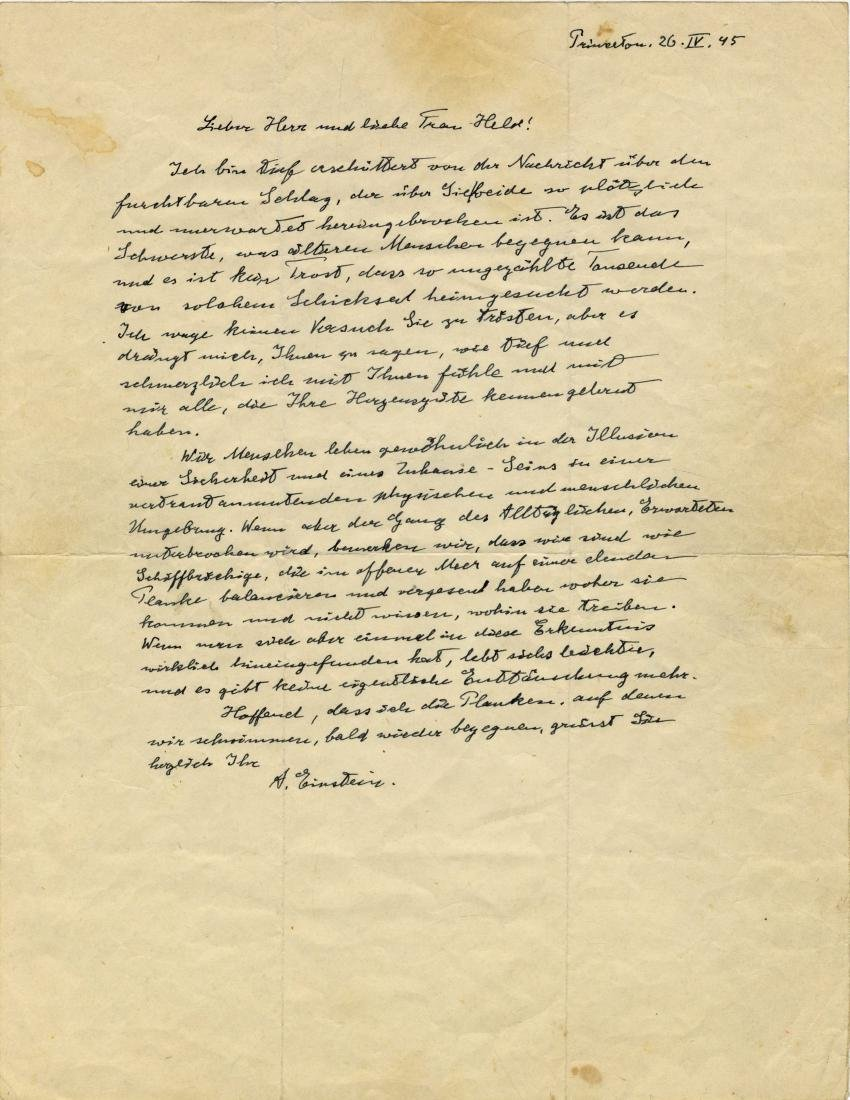 Letter from Professor Einstein Expressing Exceptional