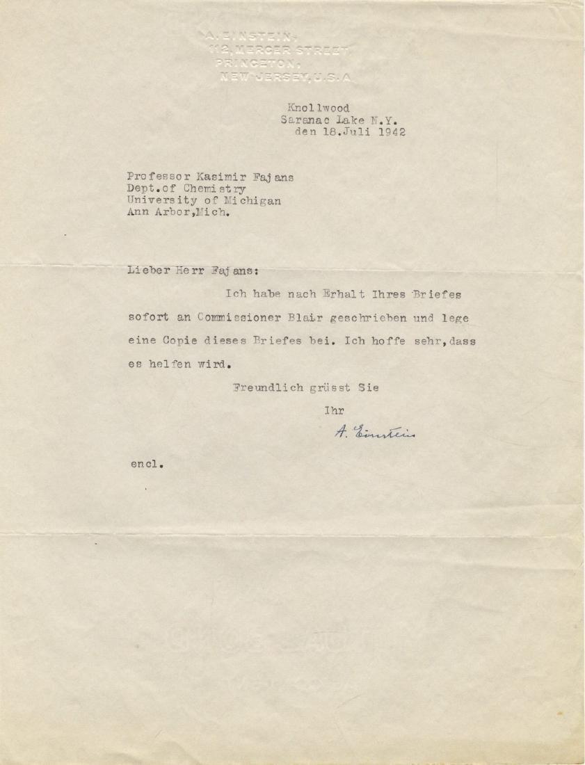 Correspondence Describing Einstein's Commitment and - 9
