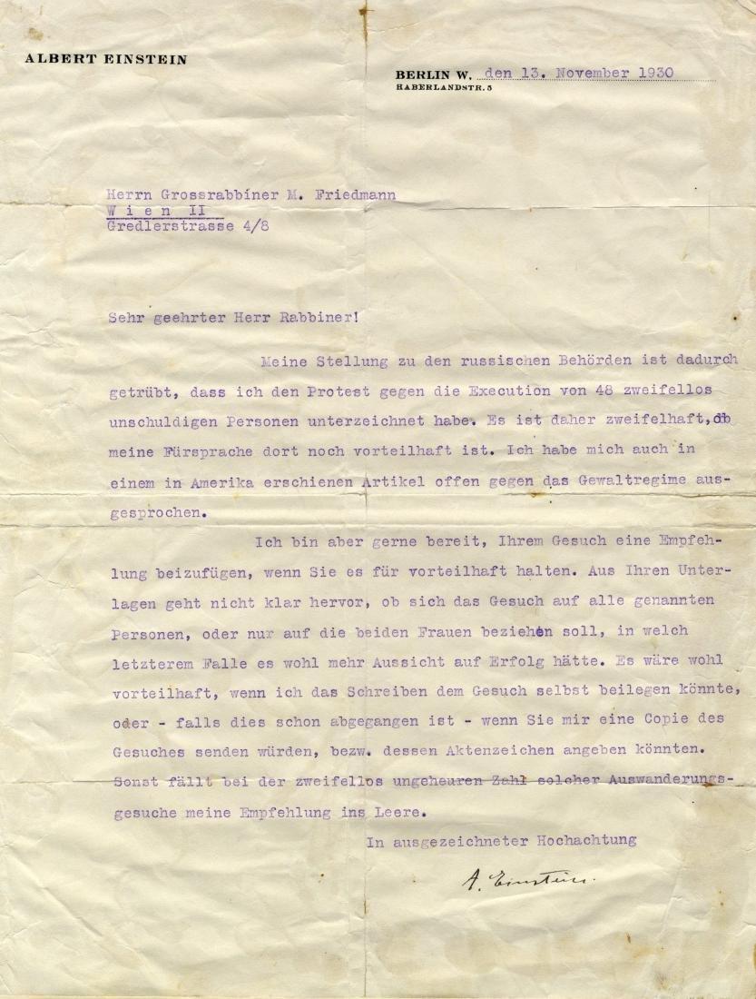 Rare Letter from Prof. Einstein to Admor Mordechai