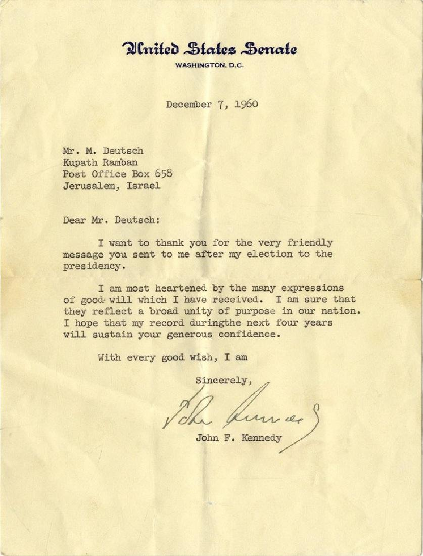 Letter from Senator Kennedy after He was Elected