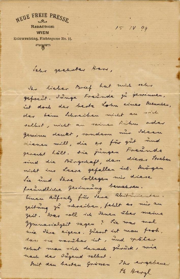 Letter from Dr. Theodor Herzl written during the period