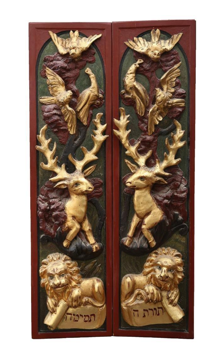 Wooden Holy Ark Doors. Poland, c. 1800. Museum Piece