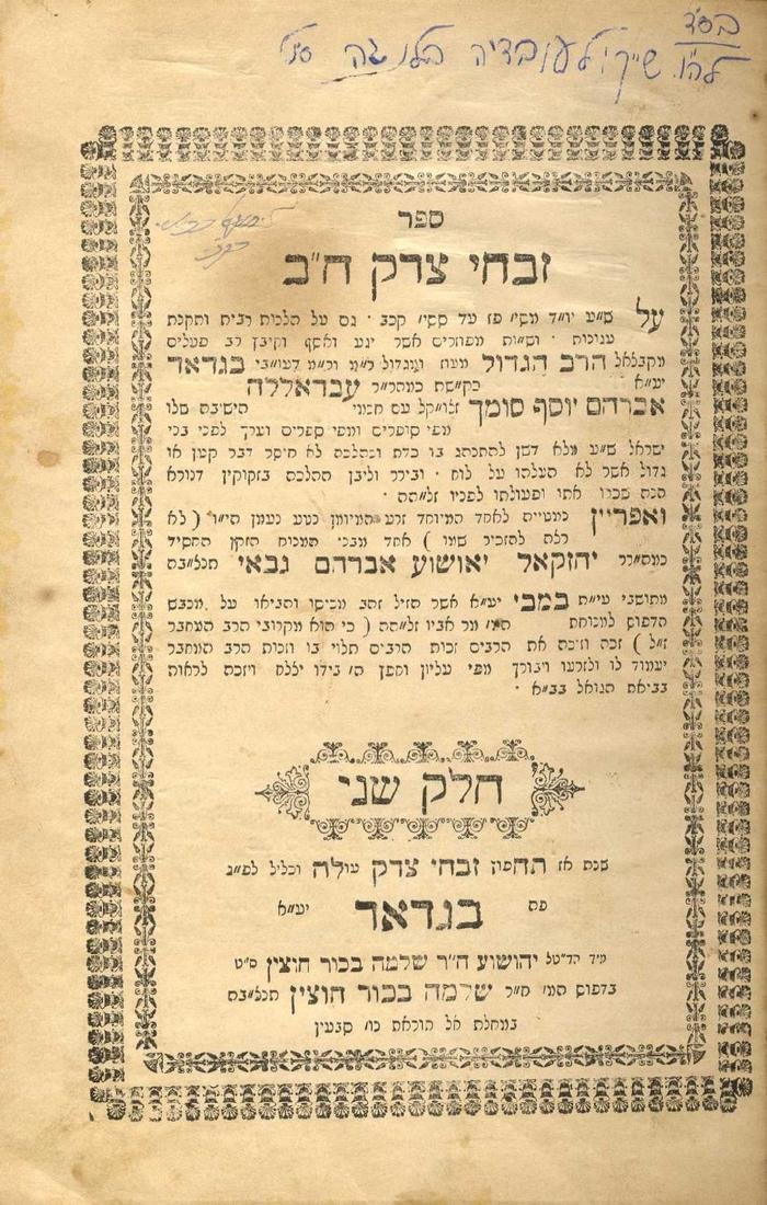 """Discovery! """"Zivchei Tzedek"""" with the Signature of"""
