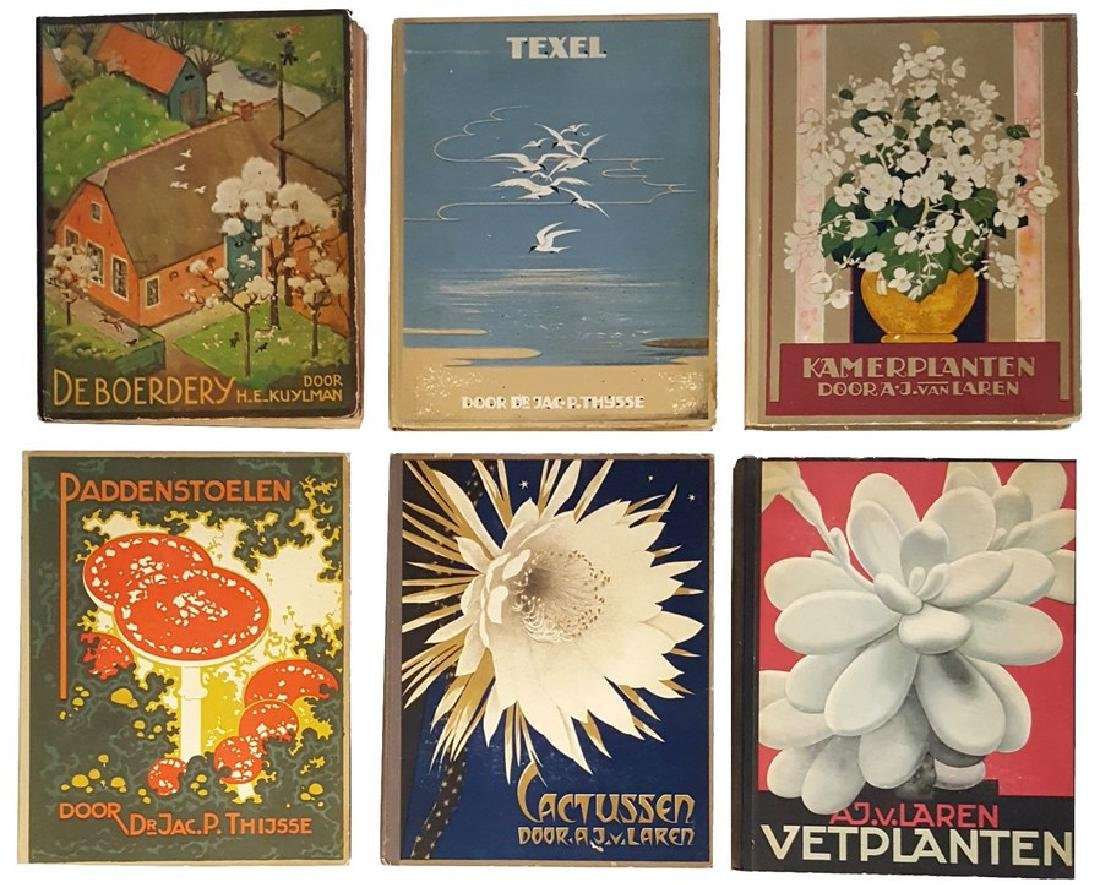 Six Card Albums in Color Lithograph Print - Flowers,