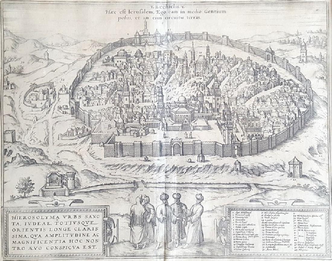 Map of Jerusalem - Engraving - Cologne, 1575