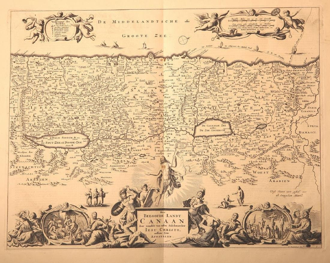 Five Geographic Maps - Etchings. Land of Israel and the