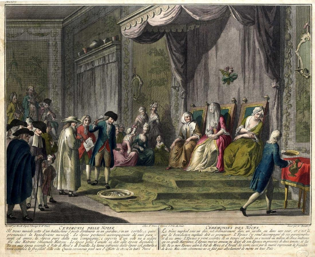 Wedding - Engraving by Bernard Picart, 18th Century