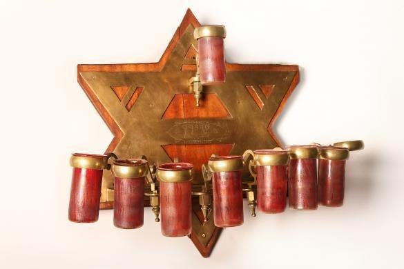 Chanuka Menorah for Synagogue, Shaped like a Star of