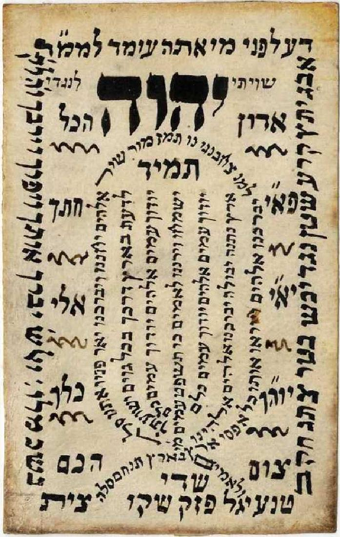 """Shiviti"" on Parchment. 20th Century"