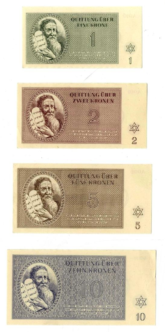 Complete Set of Theresienstadt Ghetto Banknotes in New
