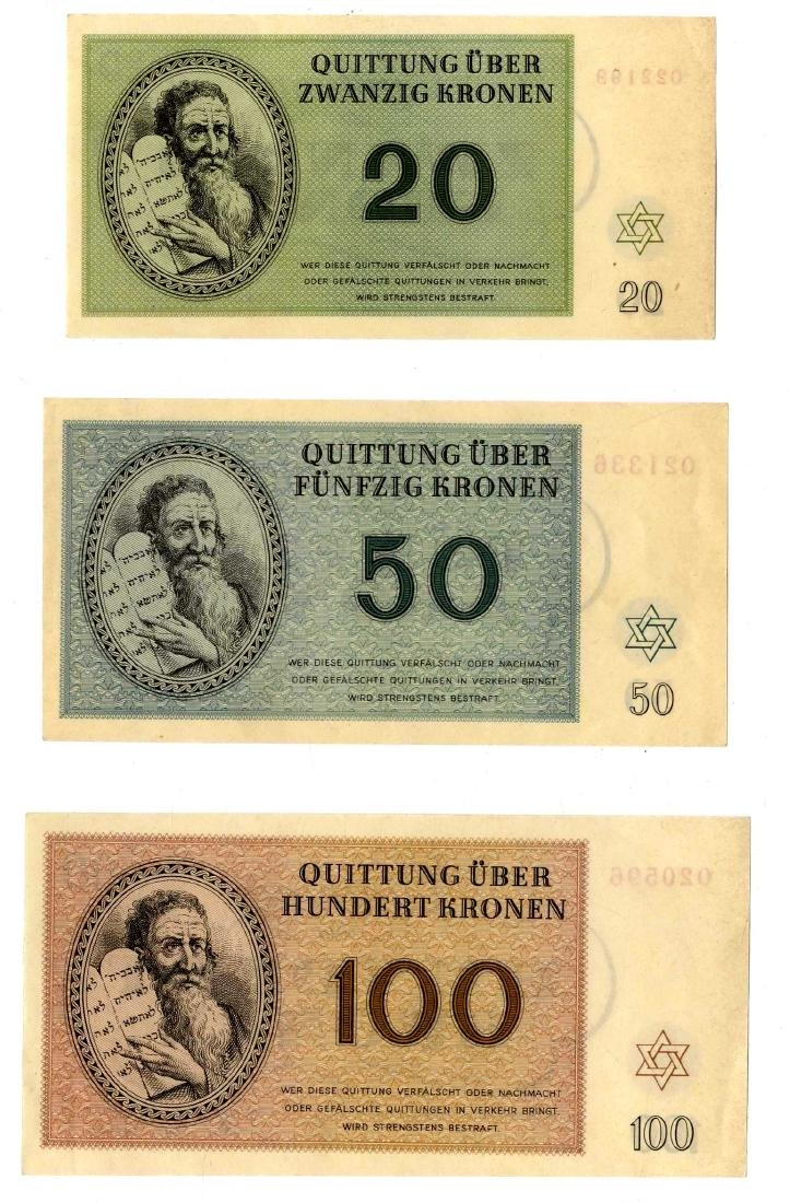 Complete Set of Theresienstadt Ghetto Banknotes in New - 2